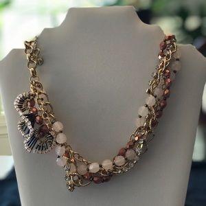 Talbots Pink & Brown Statement Necklace